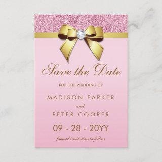 Pink Sequins Gold Bow Save The Date Wedding