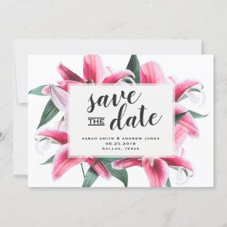 Pink Stargazer Lily Floral Save the Date Card