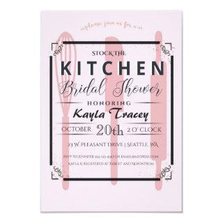 Pink Stock the Kitchen Bridal Shower Invitations