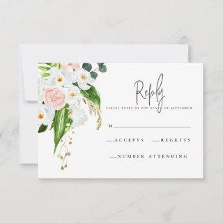Pink, teal and orchid tropical floral R.S.V.P RSVP Card