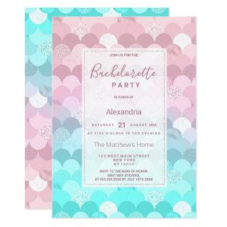 Pink teal scallope mermaid gradient Bachelorette Invitations