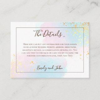 Pink Teal Watercolor Gold Confetti Wedding Details Enclosure Card