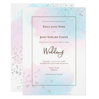 Pink Teal Watercolors Silver Confetti Wedding Invitation