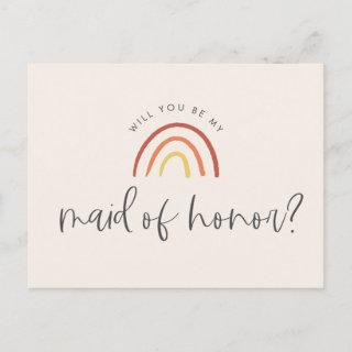 Pink Terracotta Rainbow Maid of Honor Proposal Invitations Postcard