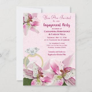 Pink Tiger Lily Pearls Spring Couples Engagement Invitation