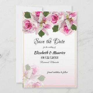 Pink Tiger Lily Roses | Spring Summer  Save The Da Save The Date