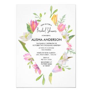 Pink Tulip Watercolor Floral Bridal Shower Invitations