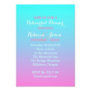 pink turquoise ombre wedding rehearsal dinner invitation