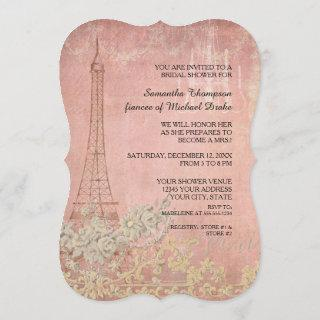 Pink Vintage Paris Parisian Stylish Bridal Shower Invitations