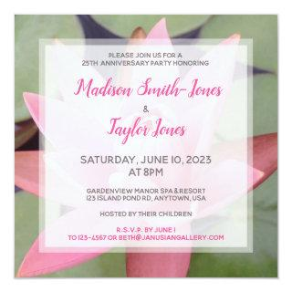 Pink Water Lily Anniversary Party Invitation