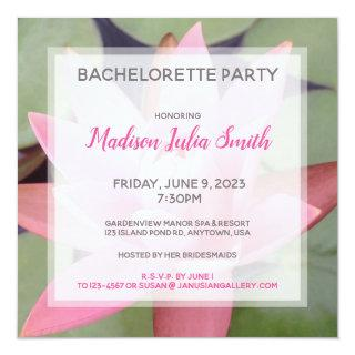 Pink Water Lily Bachelorette Party Invitations