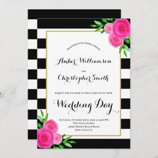 Pink Watercolor Floral Black White Stripes Wedding Invitations