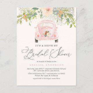 Pink Watercolor Floral Drive By Bridal Shower Invitations Postcard