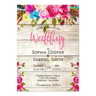 Pink Watercolor Floral Wood Typography Wedding Invitations