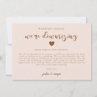 Pink We're Downsizing Wedding Update Announcement