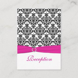Pink, White and Black Damask Reception Card