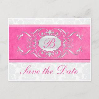 Pink, White, and Gray Damask Save the Date Announcement Postcard