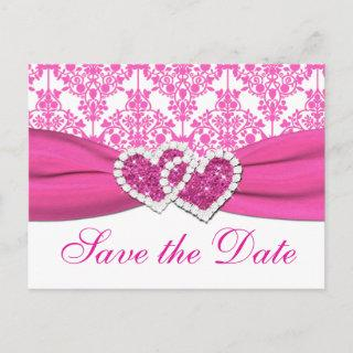 Pink, White Damask Hearts Save the Date Postcard