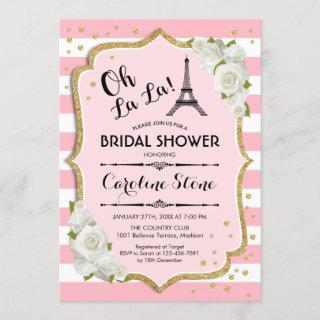 Pink White Gold French Style Bridal Shower Invitations
