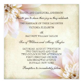 Pink White Lotus Flower Wedding Invitations