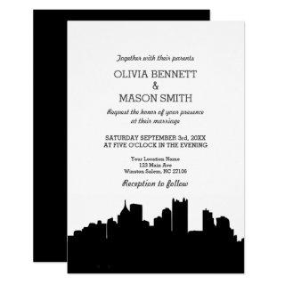 Pittsburgh PA Skyline Cityscape Wedding Invitations
