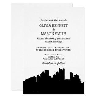 Pittsburgh PA Skyline Cityscape Wedding Invitation