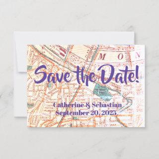 Pittsburgh, PA Vintage Map Save The Date