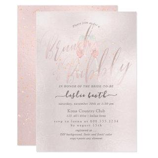PixDezines Blush Pink Champagne Brunch+Bubbly Invitations
