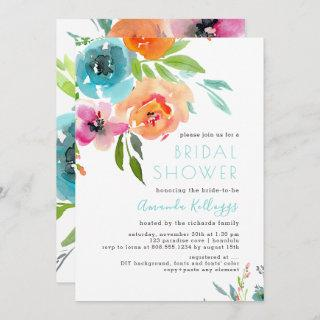 PixDezines Bridal Shower Watercolor Summer Floral Invitation