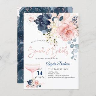 PixDezines Brunch Bubbly Navy Blush H2 flowers Invitations