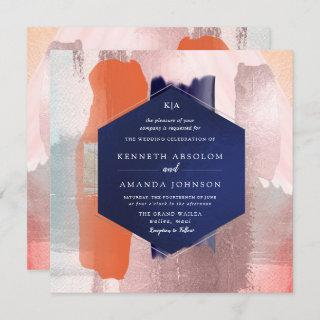 PixDezines Color Block Modern Art Coral Blush Navy Invitations