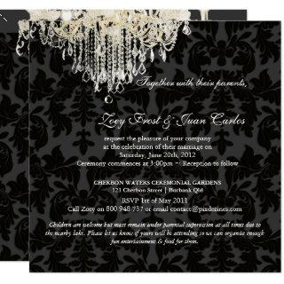PixDezines Crystal Chandelier + Baroque Damask Invitation