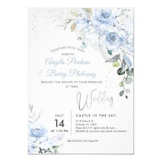 PixDezines Dusty Blue Roses Faux Silver Glitter Invitation
