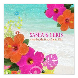 PixDezines hot pink+orange hibiscus+monstera Invitation