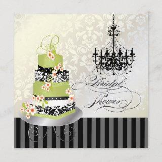 PixDezines monogram bridal, green tea cake Invitations
