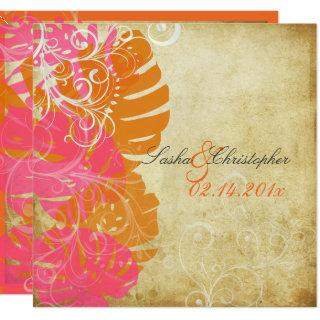 PixDezines MONSTERA/PINK/ORANGE/SWIRLS Invitations