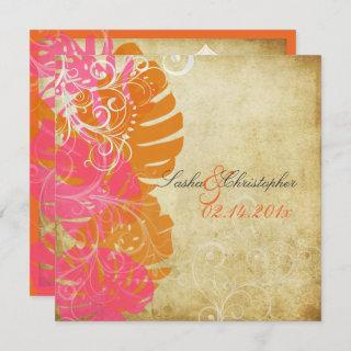 PixDezines MONSTERA/PINK/ORANGE/SWIRLS Invitation