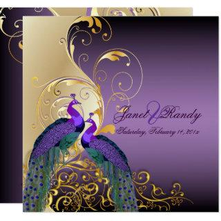 PixDezines PEACOCKS/PURPLE/GOLD/FILIGREE/SWILRS Invitations