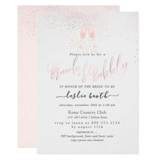 PixDezines Pink Champagne Bubbles Brunch+Bubbly Invitations
