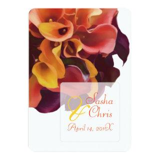 PixDezines pink, yellow, purple,rusty orange calla Invitation