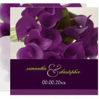 PixDezines PURPLE CALLA LILY BOUQUET Invitations