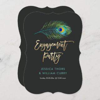 PixDezines Shimmer Peacock Feather/Engagement Invitations