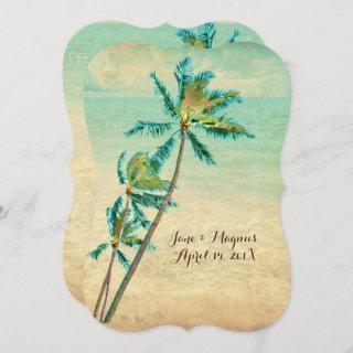 PixDezines Vintage Hawaiian Beach/teal Invitation