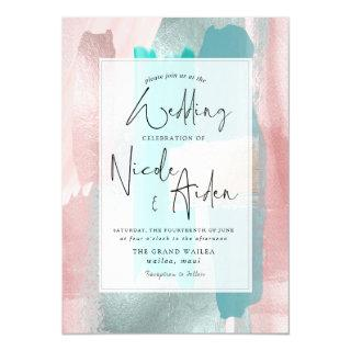 PixDezines Watercolor Aqua, Rose Gold Blush Invitation