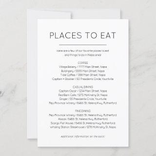 Places to eat and Things to do card