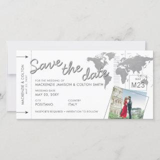 Plane Ticket Boarding Pass Photo Save the Date