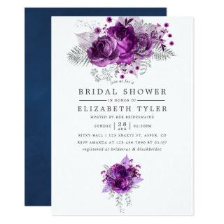 Plum and Navy Watercolor Floral Bridal Shower Invitation