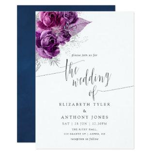 Plum and Navy Watercolor Floral Wedding Invitation