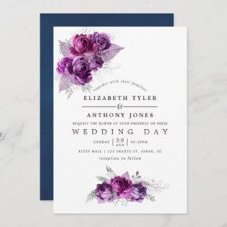 Plum and Navy Watercolor Floral Wedding