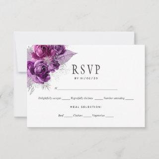 Plum and Navy Watercolor Floral Wedding RSVP Card